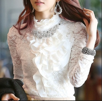 blouse lace lace up white jewels