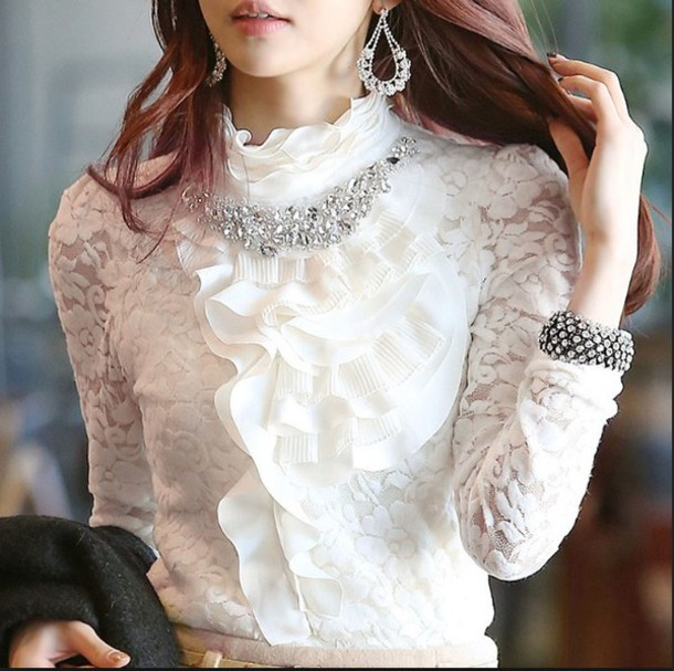 blouse lace lace up white jewels korean fashion korean style