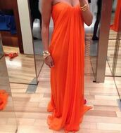 dress,prom dress,maxi dress,strapless dress,orange,draped dress,dess,summer dress,orange dress,sexy dress,bustier dress,chiffon,evening dress,long prom dress,bandeau,strapless,cute,red dress