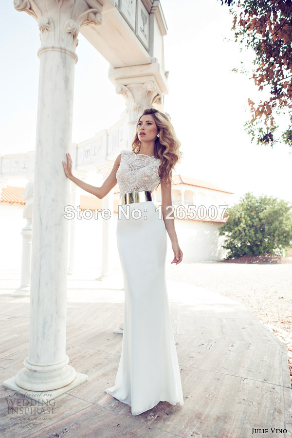 Aliexpress.com : Buy 2014 Julie Elegant Boat Neck Nice Beaded Pearl Pattern Top Golden Belt Mermaid Wedding Dresses Bridal Gowns from Reliable dresses for fat people suppliers on SFBridal