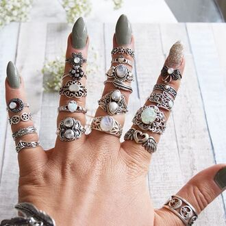 jewels cherry diva opal gypsy boho bohemian moon moon ring ring stack knuckle ring ring sterling silver rings silver silk silver ring silver jewelry boho jewelry