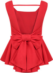 red dress,Bow Back Dress,sheinside.com,top,bow t shirt,bows,backless,peplum,peplum top,red top,sexy red top,casual,bow back,preppy,blouse,red blouse,elegant,classy,backless top,bow blouse