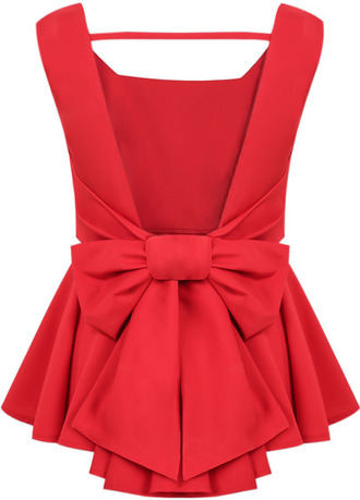 red dress bow back dress sheinside.com top bow t shirt bows backless peplum peplum top red top sexy red top casual bow back preppy blouse red blouse elegant classy backless top bow blouse