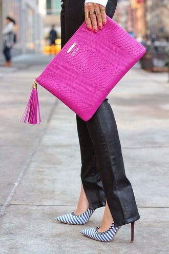 bag hot pink snake skin clutch handbag python