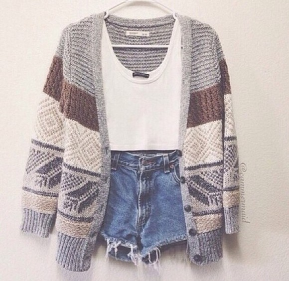 jacket cardigan white shirt shorts high waisted short blue shorts, cute outfit, summer outfit, crop-tops