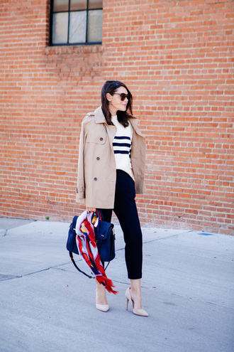 kendi everyday blogger striped sweater trench coat beige coat nude heels satchel bag blue bag printed scarf