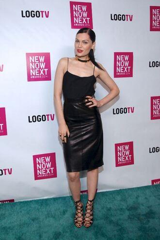 skirt leather skirt jessie j top