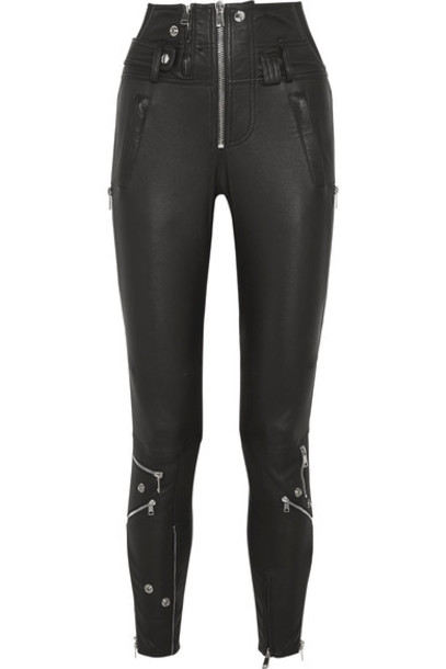 Alexander Mcqueen pants skinny pants mesh leather black