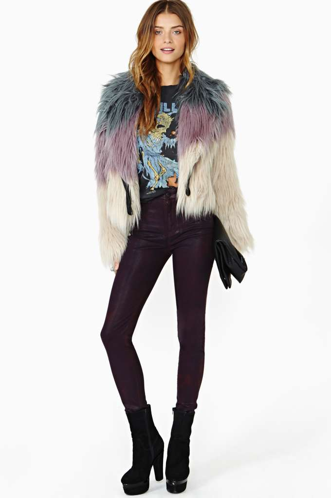 Bordeaux Coated Skinny Jeans in  Don't Miss The Perfect 10 at Nasty Gal