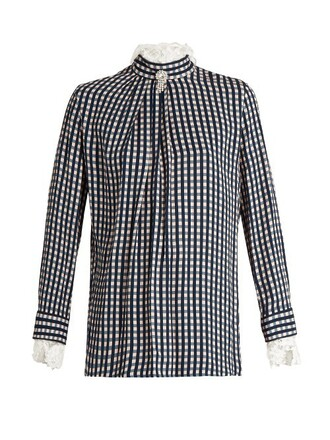 blouse lace gingham navy print top