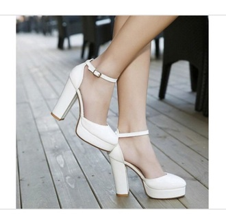 shoes woman platform shoes white ankle strap heels high heels