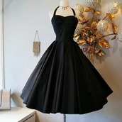 dress,black dress,cute doesnt win games,cute dress,ball gown dress,beautiful gowns,black,50s style,small waist,halter neck,flare dress