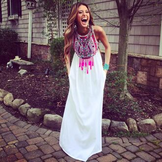 dress maxi white pink tribal pattern fringes long dress white dress long white dress with colorful top e's closet embroidered aztec maxi dress white maxi aztec aztec maxi embroidered maxi dress white maxi dress aztec dress fashion style