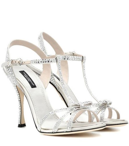 Dolce & Gabbana Crystal-embellished sandals in silver
