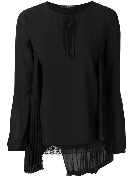 Twin-Set - lace detail blouse - women - Cotton/Polyamide/Polyester/Spandex/Elastane - 42, Black, Cotton/Polyamide/Polyester/Spandex/Elastane