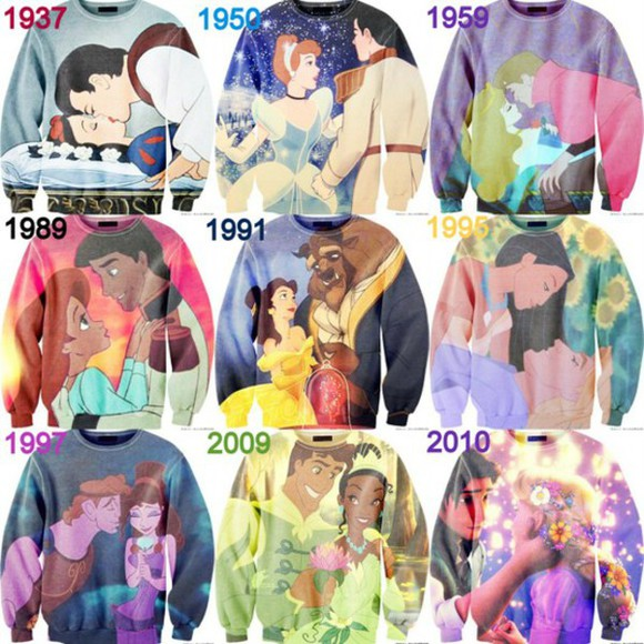 snow white sweater disney sweater sleeping beauty little mermaid disney princesses meg Pocahontas cinderella