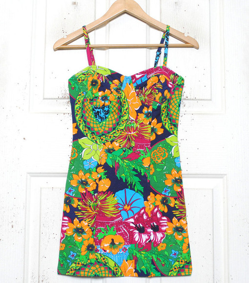 hipster dress multi rainbow pink green orange purple floral blue yellow multicolour colour colourful colours bright pattern tight tight fitting strap strappy bustier 90s cute girly slip slip dress