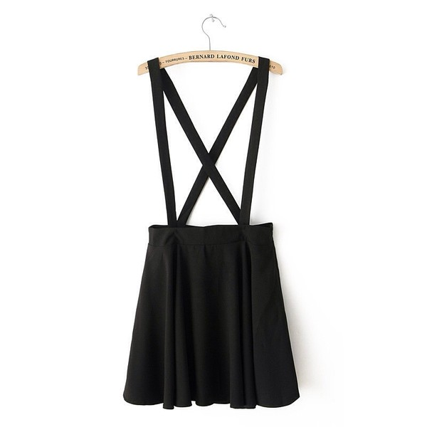 skirt black suspenders skater skirt