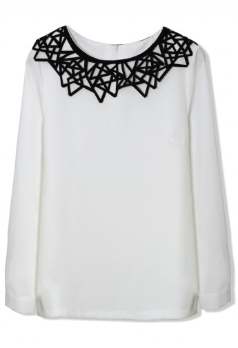 Contrast Cut Out Collar Chiffon White Top - Retro, Indie and Unique Fashion