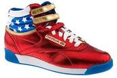 wonder woman,red shoes,shoes,american flag,Reebok,sneakers,high top sneakers,multicolor sneakers,multicolor
