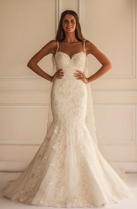 Maison Yeya 2015 Spaghetti Straps Backless Trumpet Lace Wedding ...
