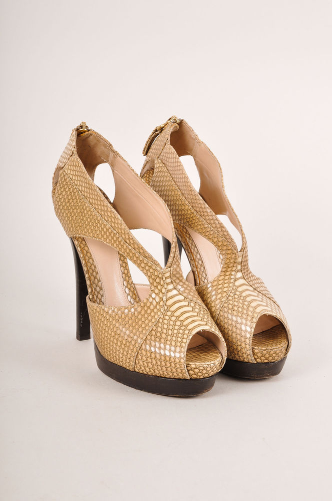 Fendi $835 beige snakeskin leather