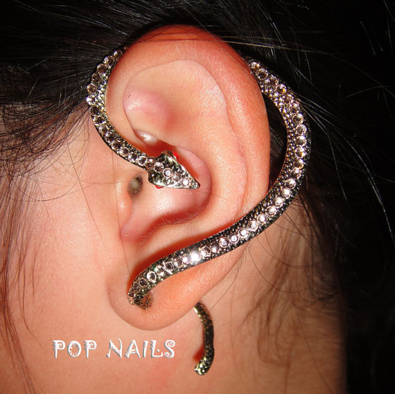 Rose Gold Snake Statue Ear Cuff Earrings Swarovski