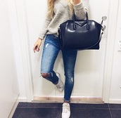 sweater,jeans,bag,shoes,grey sweater,grey,knitted sweater,knitwear,givenchy,givenchy bag,white shoes,outfit,style,instagram,top,givenchy antigona