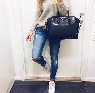 sweater jeans bag shoes grey sweater grey knitted sweater knitwear givenchy givenchy bag white shoes outfit style instagram top givenchy antigona