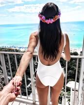 swimwear,tumblr,white swimwear,one piece swimsuit,flower crown,open back,backless