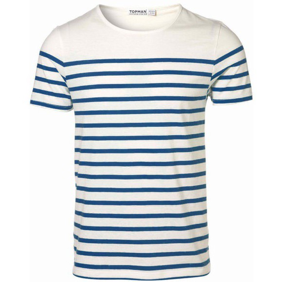 blue shirt t-shirt white stripped topman tshirt menswear stripped white and blue