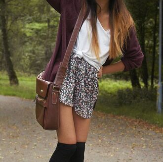 cardigan burgundy burgundy sweater floral floral skirt black black socks sweater white skirt winter/autumn fall outfits bag