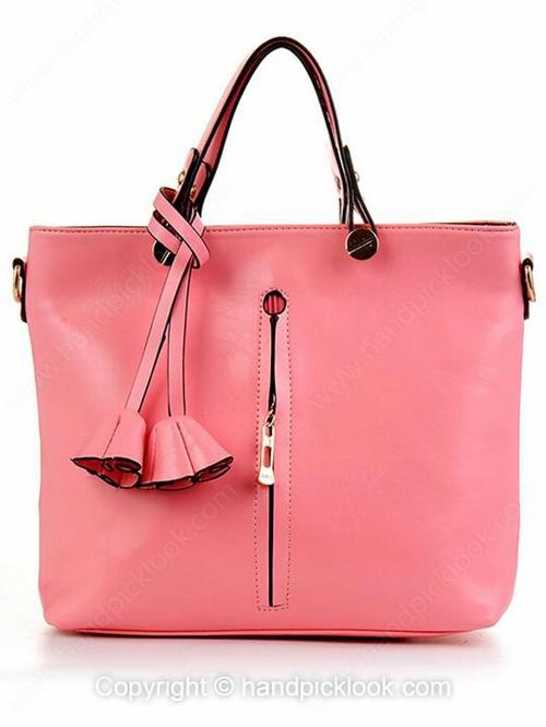 Pink Flower Pendant Embellished PU Handbag - HandpickLook.com