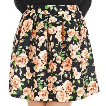 Amazon.com: Feminine Floral Pleated Full Mini Skirt - Black: Clothing
