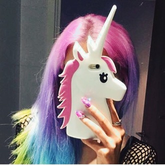 phone cover unicorn iphone cover rainbow nails ring jewels pink purple black dress dress