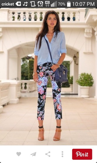 pants floral pants floral pattern blue flowers pink flowers black pants