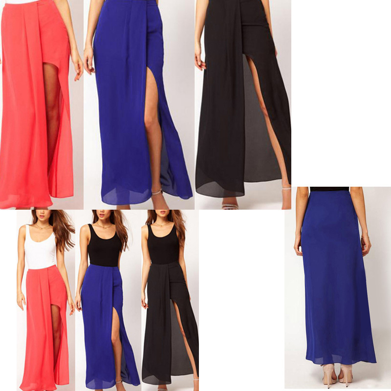 Jr's Open Side Split Skirt Summer Solid Chiffon Long Maxi Skirt ...
