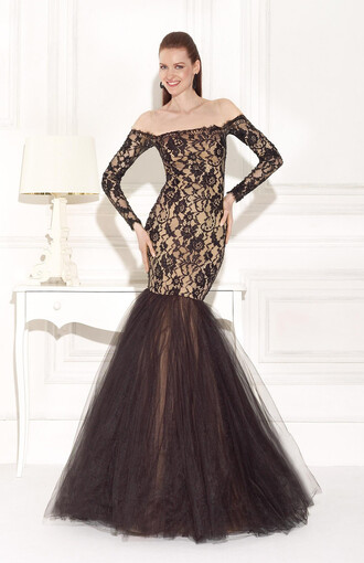 dress black and tan black and tan dress lace dress lace off shoulder dresses off the shoulder dress off-the-shoulder off the shoulder