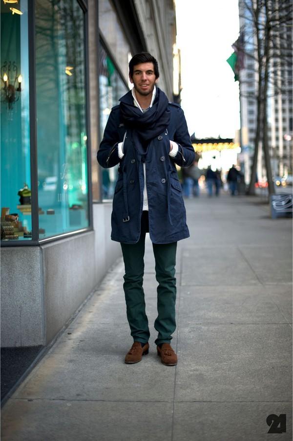 Coat: navy, blue coat, mens coat, mens trench coat - Wheretoget