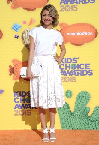 skirt midi skirt all white everything white sarah hyland sandals clutch bag spring skirt celebrities in white