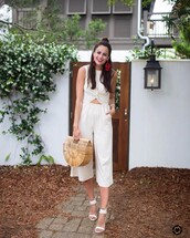 jumpsuit,tumblr,cropped jumpsuit,white jumpsuit,sandals,sandal heels,high heel sandals,white sandals,all white everything,bag,basket bag,earrings,accessories,Accessory