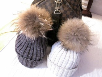 hat winter hat grey fluffy