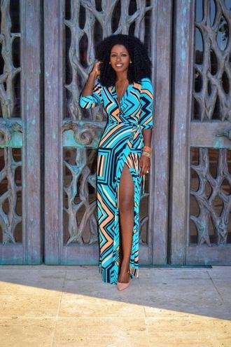 dress blue dress geometric