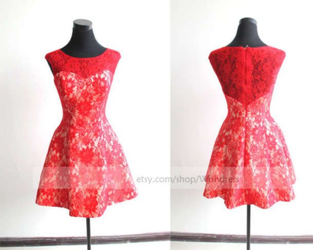 red short prom dress, short formal dress, red lace dress, lace prom ...