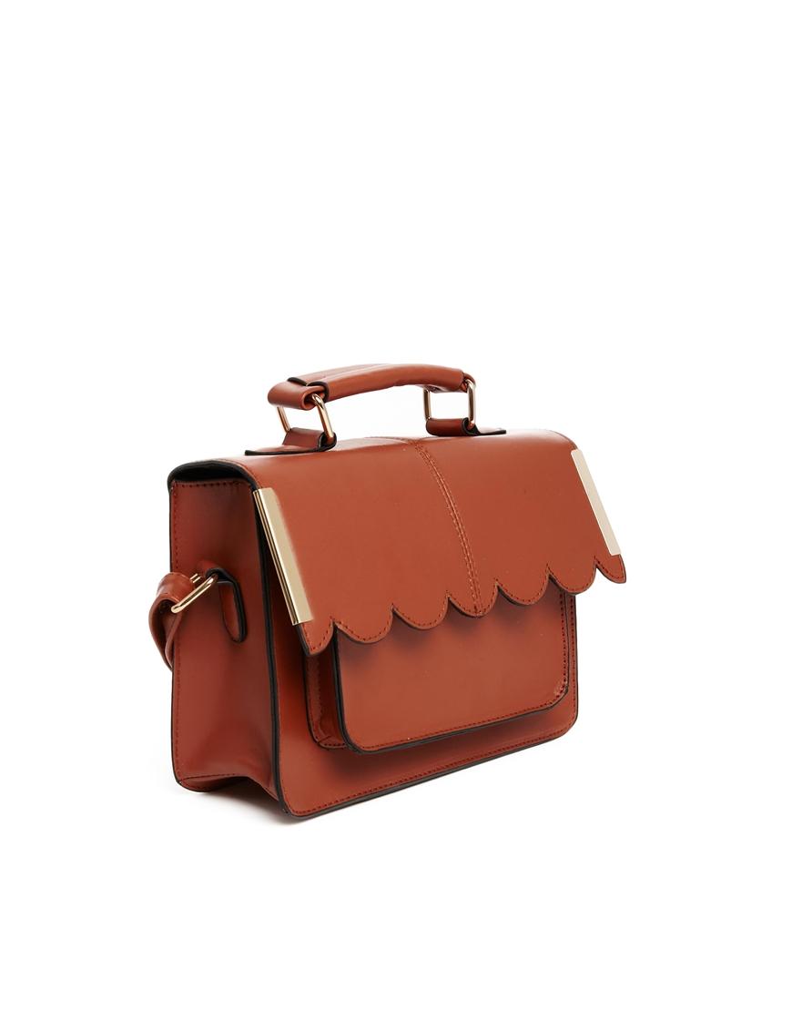 ASOS Mini Satchel Bag with Scallop Bar Detail at asos.com