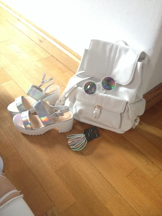 bag holographic sunglasses shoes white backpack all white everything silver sandals