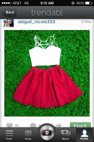 dress crop top strappy red skirt