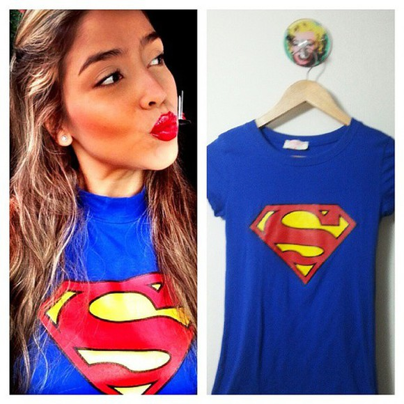 t-shirt blue shirt superhero hats superman shirt