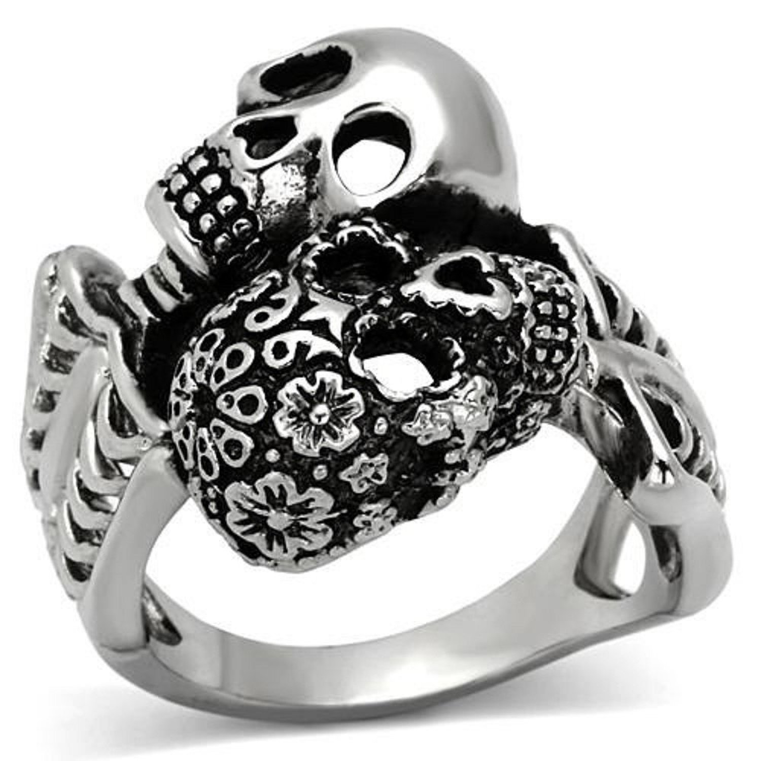 Amazon.com: Men's Stainless Steel Day of the Dead Skelton Duo Wrap Ring - Sizes 8-13: Jewelry