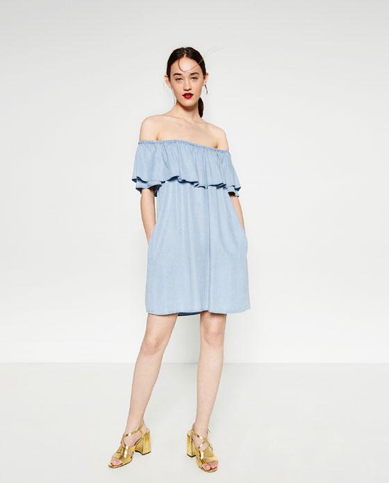 bf7b1436 DENIM OFF - THE-SHOULDER DRESS-Mini-DRESSES-WOMAN | ZARA United States